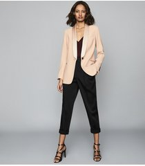 reiss arianna - satin trimmed crepe blazer in soft pink, womens, size 10