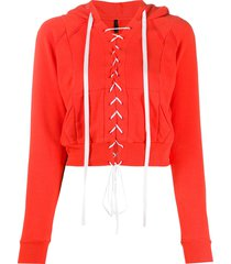 unravel project cropped lace-up hoodie - orange
