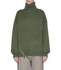zip hem cashmere turtleneck sweater