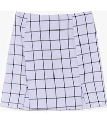 womens square your thoughts check mini skirt - blue