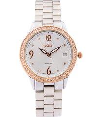 reloj loix ref l1152-02 plata/dorad