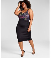 nina parker trendy plus size scuba zip skirt, created for macy's