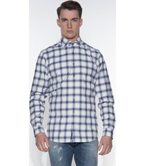 blue industry casual shirt met lange mouwen wit