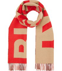 women's burberry logo & check reversible cashmere scarf, size one size - beige