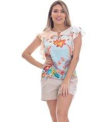blusa clara arruda decote babado estampada 20498 - feminino