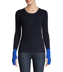ribbed colorblock cashmere pullover