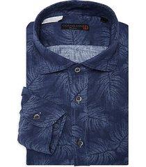 palm-print linen dress shirt