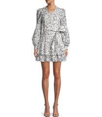 avantlook women's marble-print lace mini dress - size s