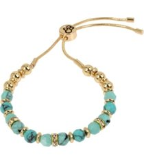 "jessica simpson turquoise stone friendship bracelet, 10"" adjustable"