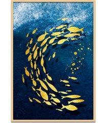 quadro 67x50cm urak oh4 peixe dourado decorativo moldura natural com vidro