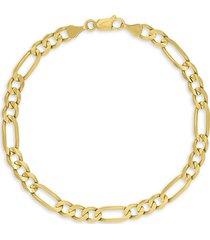 saks fifth avenue men's 14k yellow gold concave figaro chain bracelet/5.8mm