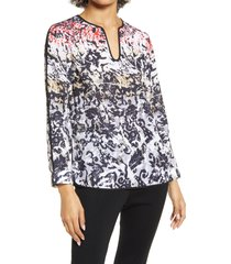 women's ming wang ombre print split sleeve popover blouse, size large - red