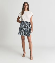 reiss astrid - printed mini skirt in black print, womens, size 14