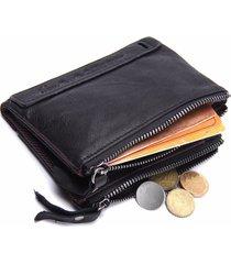 doble zipper cartera piel genuina contact's billetera