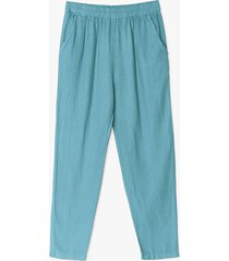 womens double down linen high-waisted pants - sage