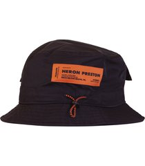 heron preston logo patch bucket hat