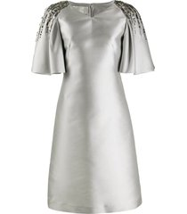 alberta ferretti flare sleeve metallic dress - grey