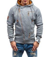 casual sudadera con capucha algodón sólido para hombre-gris