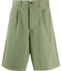 ami paris pleated bermuda shorts - green