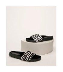 chinelo slide feminino de couro oneself estampada animal print de zebra preta