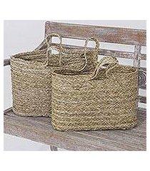 panadanus leaf tote bags, 'rustic essentials' (pair) (indonesia)