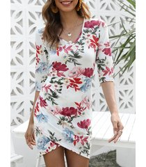 floral print cut out mini tulip dress