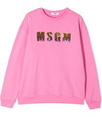msgm sequin-embellished logo sweatshirt