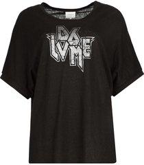 t-shirt met tekst print rock  zwart