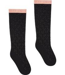 gucci gg crystal socks - black