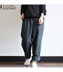 zanzea mujeres de cintura alta pantalones a rayas de algodón suelta más el tamaño de los pantalones -negro