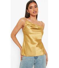 geplooid hemdje met ketting detail, gold