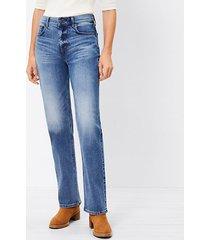 loft distressed hem high rise straight crop jeans in authentic dark indigo wash