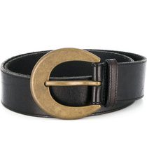 saint laurent antique-effect buckle belt - black