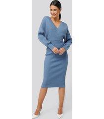 na-kd glittery ribbed knitted skirt - blue