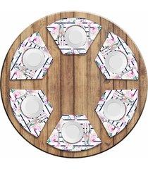 jogo americano love decor para mesa redonda wevans floral rose kit com 6 pçs