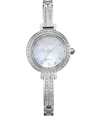 citizen eco-drive women's stainless steel & swarovski crystal bangle bracelet watch 25mm
