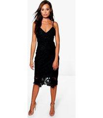 boutique gehaakte kanten midi jurk met bandjes, zwart