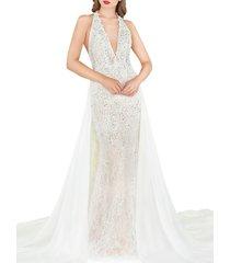 mac duggal women's glitter lace column gown - red - size 0