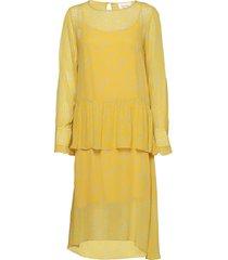 olivia dress jurk knielengte geel second female