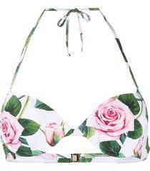 dolce & gabbana tropical rose print bikini top - white