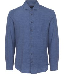 hackett london blue prince of wales flannel shirt 305840-551
