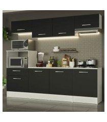 cozinha completa madesa onix 240001 com armário e balcão branco/preto branco/preto