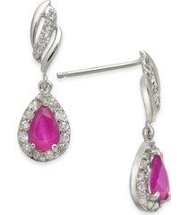 certified ruby (1 ct. t.w.) & diamond (1/3 ct. t.w.) teardrop drop earrings in 14k white gold