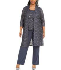 r & m richards 3-pc. plus size sequined lace pantsuit & shell
