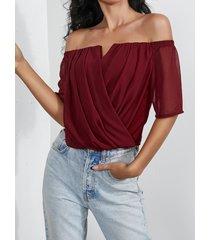 blusa plisada sexy diseño con hombros descubiertos y mangas cortas