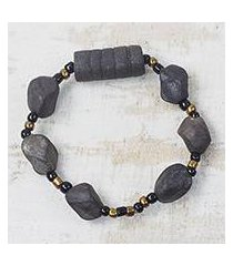 ceramic and recycled plastic beaded stretch bracelet, 'fascinating rocks' (ghana)
