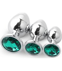 3pcs redondo convencional plug anal grande con traje de medianos y pequeños diamantes-verde oscuro
