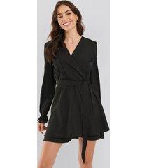 na-kd boho overlap draped mini dress - black