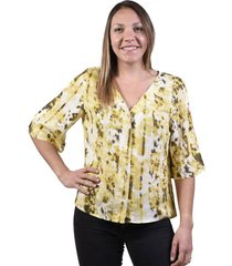 blusa manga 3/4 estampada amarillo alexandra cid