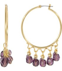 2028 women's gold tone purple beaded drop hoop earring